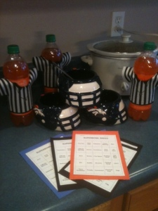 "Denver Bronco ""helmets"", Orange Crush ""Referees"", and Superbowl Bingo!"
